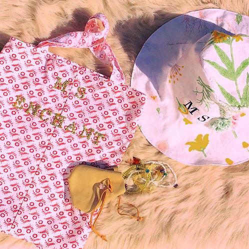 MS Enchant Golden Glitter Red + White Floral Print Medium Tote Handbag