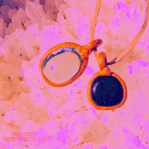 Priscilla Purple Goldstone Pendant Crystal Necklace