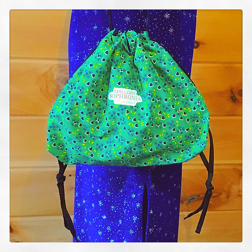 Green Floral Heart Printed Reversible Drawstring Crossbody Pouch Bag Purse