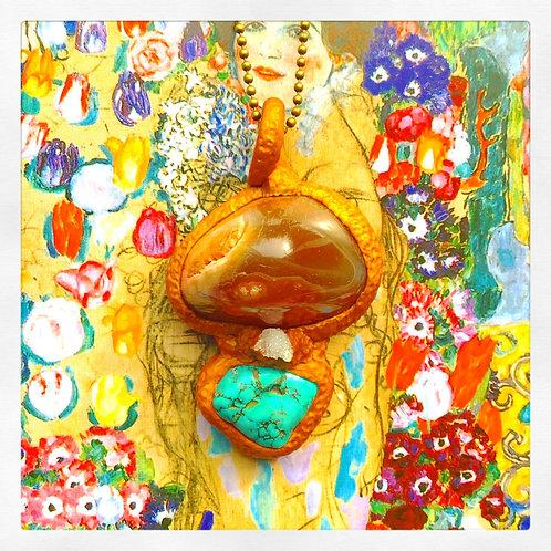 Brown Agate, Quartz Geode + Turquoise Howlite Amulet Pendant Charm Talisman
