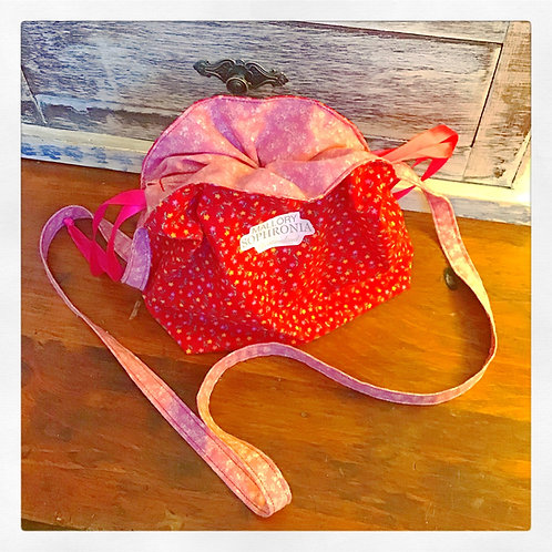 Rosa Red Floral Reversible Drawstring Crossbody Pouch Bag Purse
