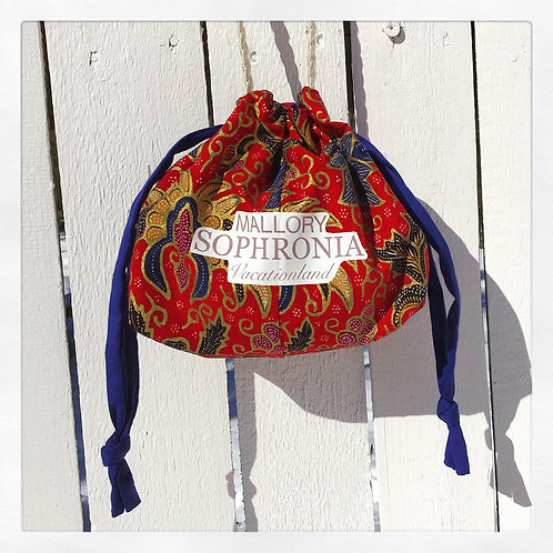 Red Printed Floral + Blue Reversible Drawstring Mini Bucket Bag