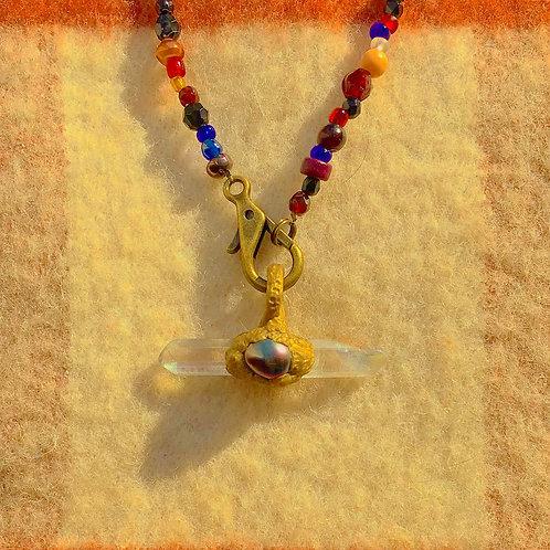 Libra Double Angel Quartz Crystal Black Pearl Antique Gold Talisman Amulet Charm