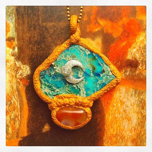 Teagan Teal Jasper Carnelian Silver Moon Golden Sculpted Pendant Amulet Charm