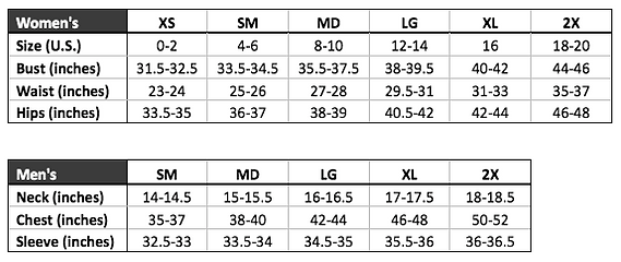 MS' Size Charts