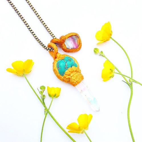 Hadrian Howlite, Angel Quartz Golden Key Pendant Charm Talisman