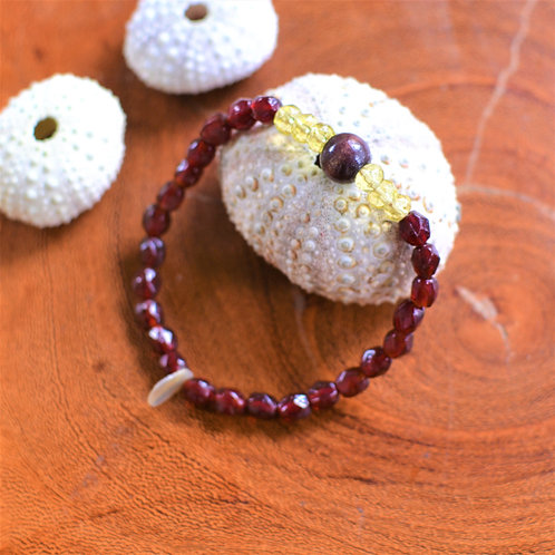 Ruby Red Glass, Wood + Shell Bracelet