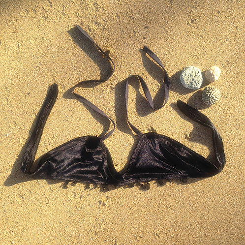 Verona Island Velvet Fringe Halter Bikini Bra