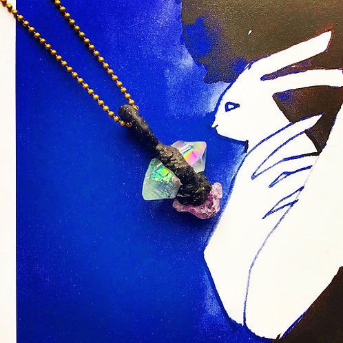 Blue Angel Quartz, Raw Amethyst, Sparkling Black Clay Pendant Amulet Charm