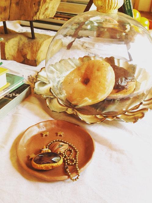 Terra Cotta Orange Artemis Full Moon Celestial Evil Eye Trinket Tray Dish