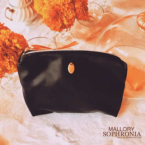 Practically Magic Black Vegan/Faux Leather Zippered Pouch Bag