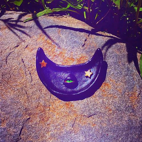 Black Diana Celestial Cresent Moon Terra Cotta Trinket Tray Jewelry Dish