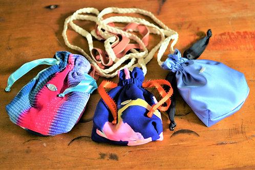 Periwinkle Silk Mini Drawstring Cross Body Purse Medicine Bag
