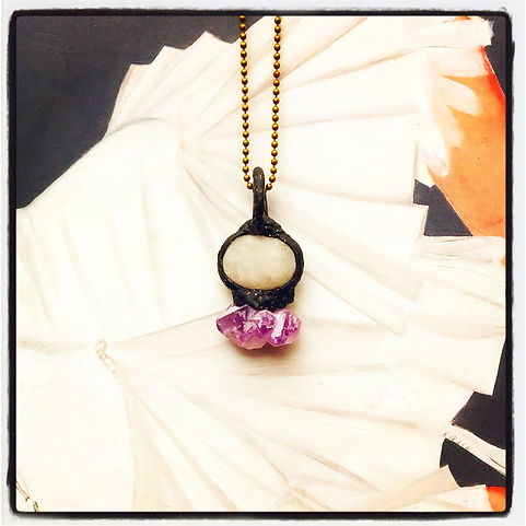 MS' Ocean Quartz and Amethyst Talisman Pendant Necklace Charm