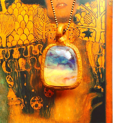 Opal Obsidian Crystal Stone Pendant Necklace