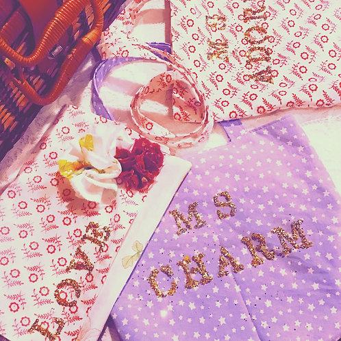 Love Golden Glitter Floral Print Clutch Bag Purse