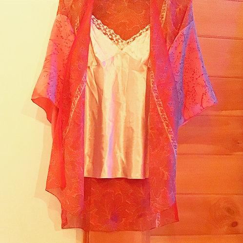 Pax Pink Paisley Silk Kimono Jacket Robe Wrap