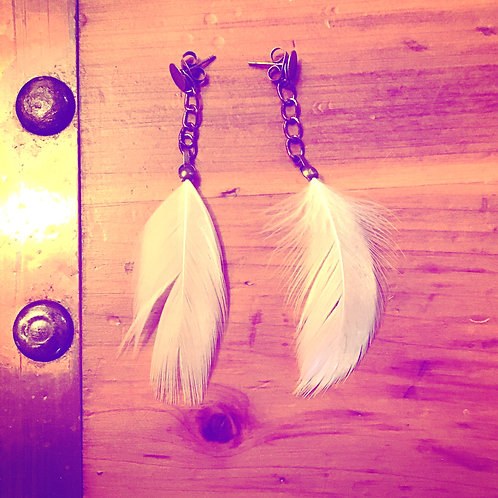 Fly Away White Feather + Chain Drop Stud Earrings