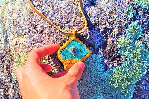 Teagan Teal Stone Carnelian Silver Moon Golden Sculpted Pendant Amulet Charm