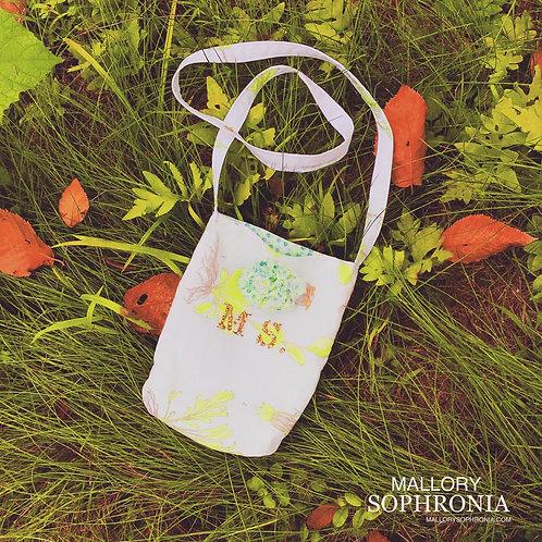MS Golden Glitter Floral Printed 3D Blossom Mini Bucket Shoulder Bag Purse