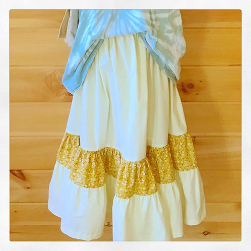 Iowa High Waisted Three-tiered Gathered Midi Skirt/Strapless Mini Dress