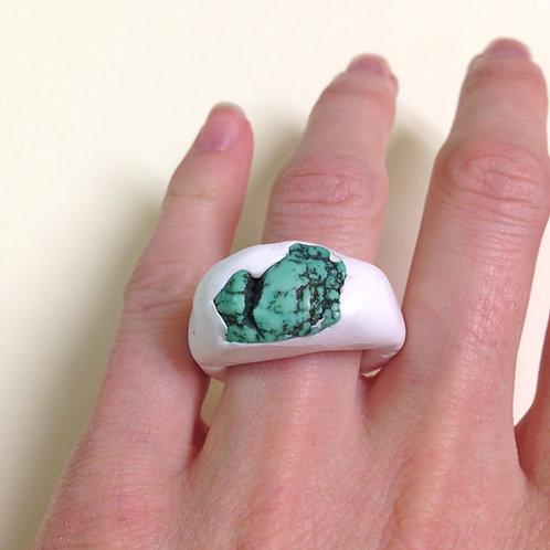 Thomaston Turquoise + White Polymer Clay Ring