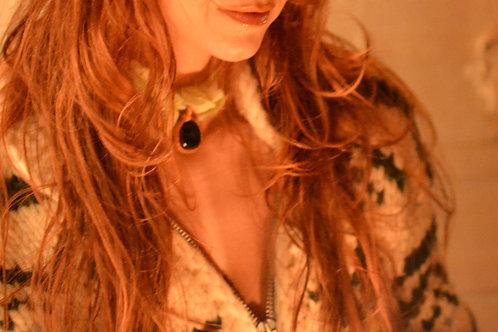 Elowyn Emerald Goldstone Pendant Crystal Necklace