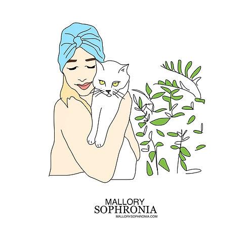Cat Lady Fashion Illustration Print Card Wall Decor