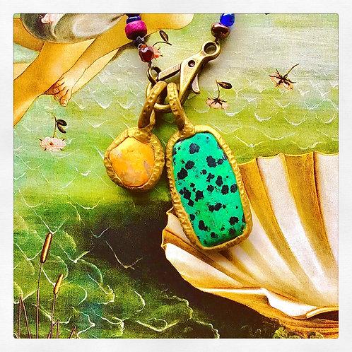 Teal Dalmatian Jasper Stone Pendant Charm Talisman Necklace