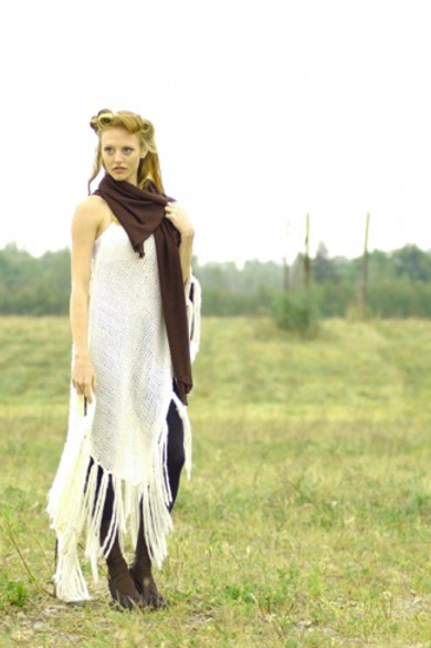 Orono One-shoulder Knit Fringe Cover-up