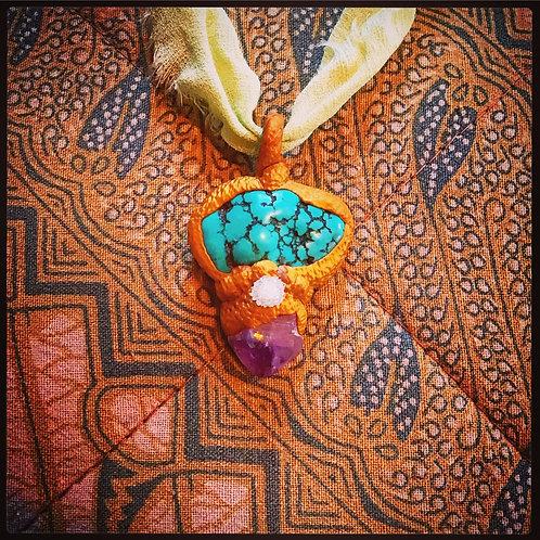 Mystical Turquoise Howlite, Geode Quartz + Amethyst Gold Clay Pendant Charm