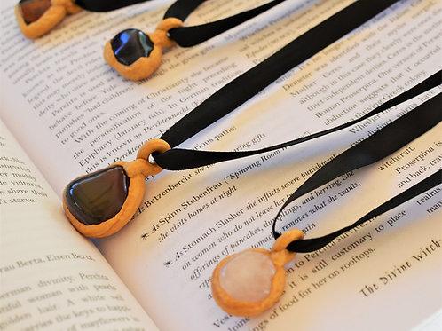 Rhiannon Rose Quartz Stone + Gold Sculpted Clay Pendant Necklace