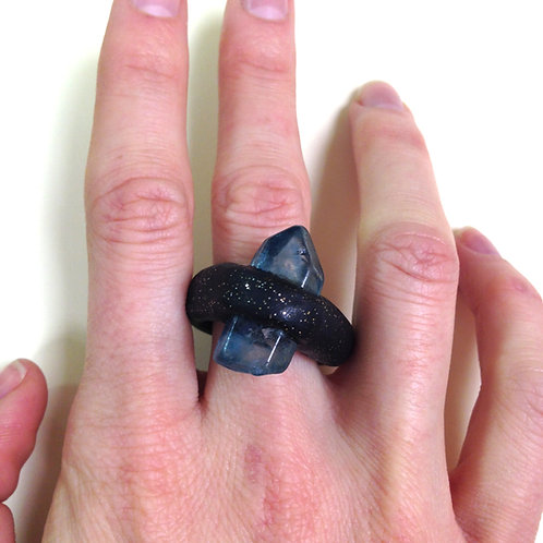 Buxton Blue Crystal + Black Clay Cocktail Ring