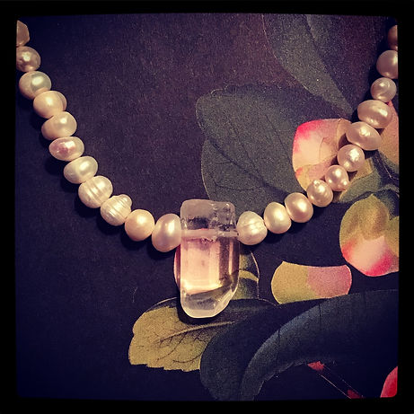 MS quartz and freshwater pearl necklace