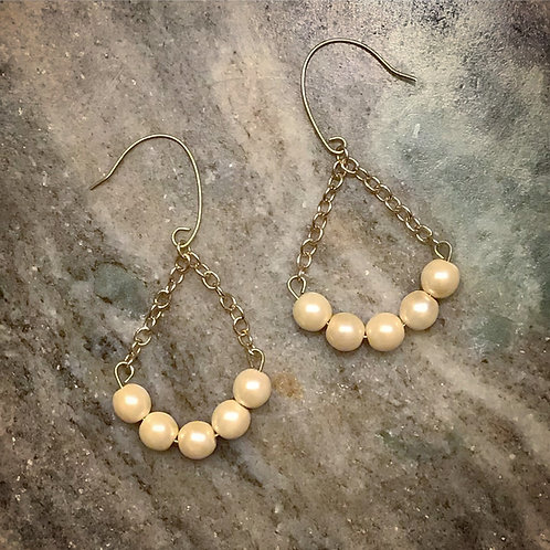 Penarddun Faux Pearl + Chain Gold Tone Earrings