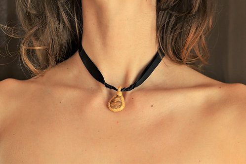 Chocolate Jasper Stone + Gold Sculpted Clay Pendant Necklace