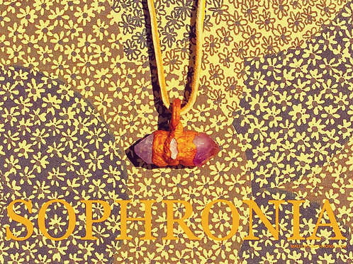 Rowan Raw Quartz Geode Dual Purple Amethyst Golden Sculpted Pendant Necklace