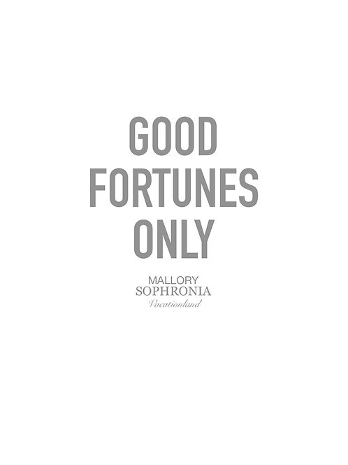 Good Fortunes Only Print Poster Card Illustration Wall Decor