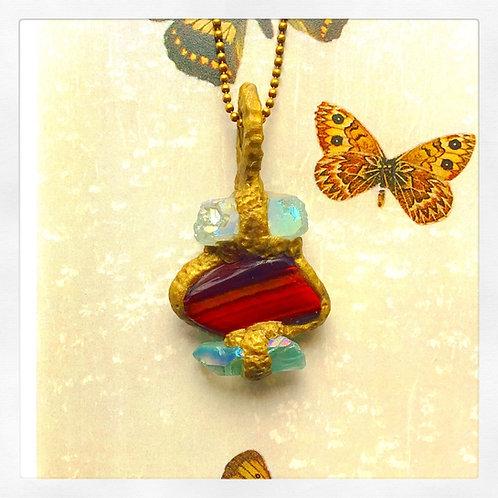 Mariposa Double Blue Quartz Crystal + Red Tiger's Eye Antique Gold Talisman