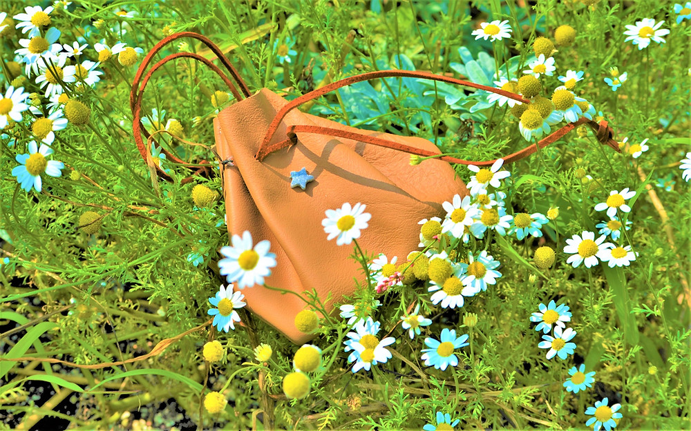 A fashion label founded in Vacationland, Mallory Sophronia draws from New English lore to create this enchanting accessory - Reclaimed Leather Mini Drawstring Purse Medicine Bag.