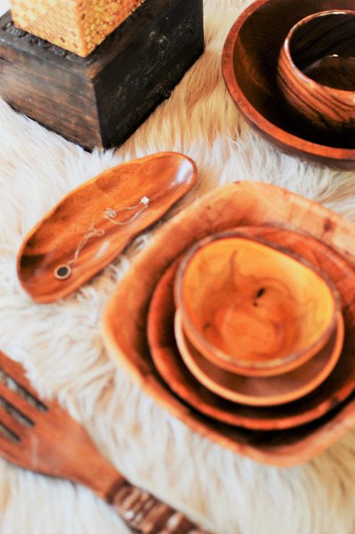 Deer Isle Vintage Long Scalloped Carved Wooden Trinket Bowl/ Dish