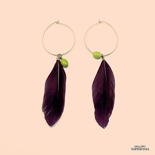 Asymmetrical Black Feather + Glass Bead Hoop Earrings