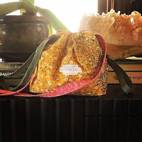 Glittering Gold Yellow Floral Reversible Drawstring Crossbody Pouch Bag Purse