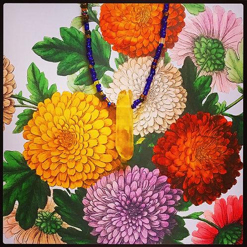 Helios Honey Quartz Pendant Multicolored Beaded Necklace