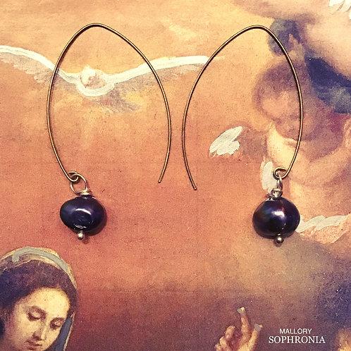 Venus Wishbone Black Pearl Drop Earrings