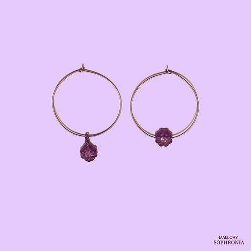 Aerin Asymmetrical Plum Crystal Flower Medium Hoop Earrings