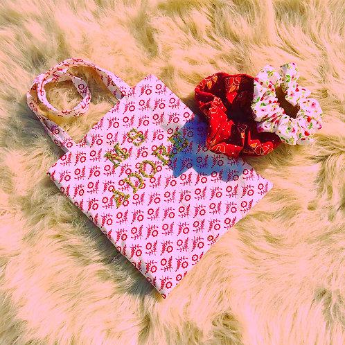 Adore Golden Glitter Floral Print Mini Tote Handbag