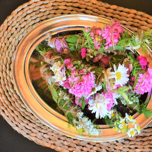Selah Silver Toned Vintage Oval Decorative Bowl
