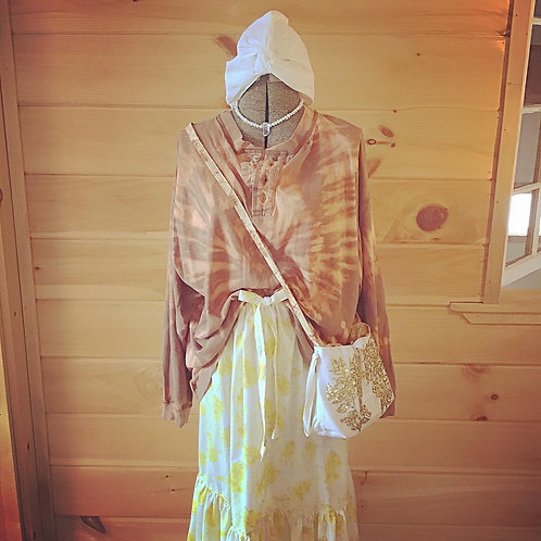 That's The Spirit Brown + Peach Oversized Long Sleeve Tie Dye Vintage Shirt Top