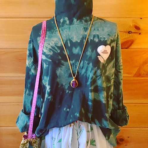 The Mothership Green Long Sleeve Tie Dye Vintage Shirt Turtleneck Knit Top